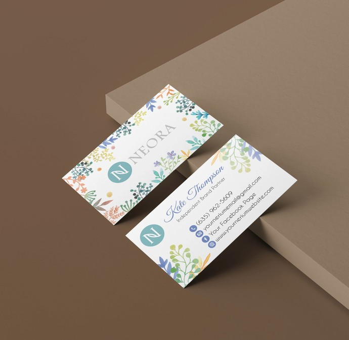 Neora Business Cards, Personalized Neora Template NE01