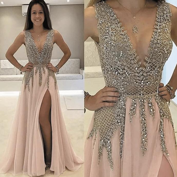 beaded prom dresses long crystals dusty pink v neck sleeveless elegant a line