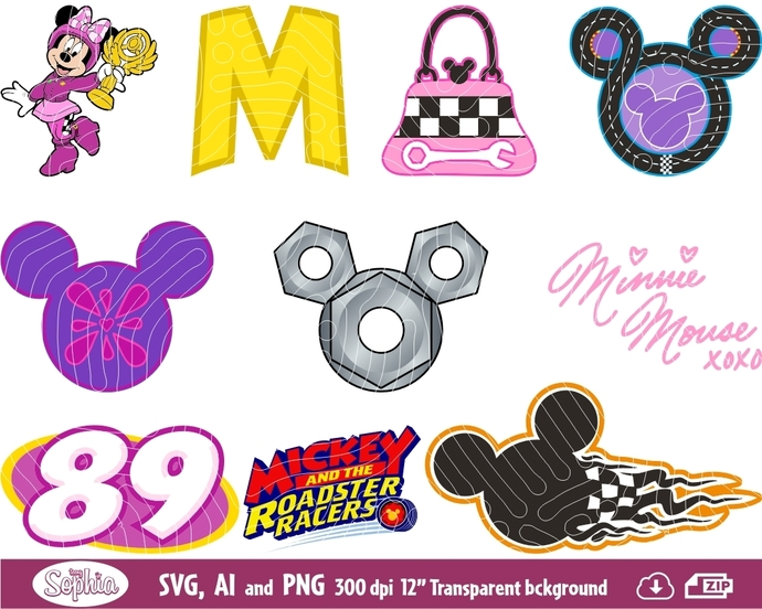Minnie Roadster Racers 10 Cliparts, Svg File for Cricut plus Ai and Png file to