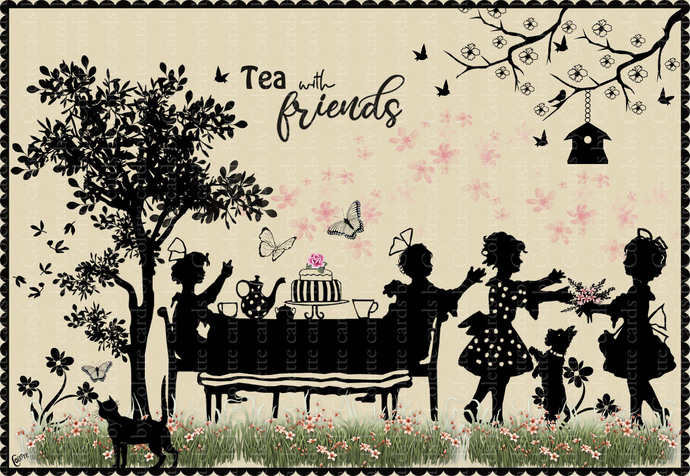 Tea Party Digital Collage Greeting Card2623