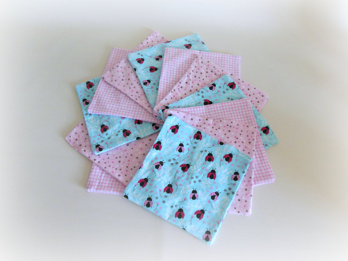 2 Ply Set of 12 Cloth Wipes, Washcloths, Burp Cloths, Handkerchiefs in Ladybug