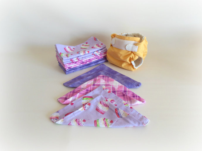 2 Ply Cupcake Flannel Cloth Wipes, Cupcake Washcloths, Cupcake Burp Cloths,