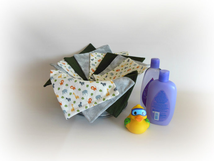 2 Ply Cloth Wipes, Washcloths, Burp Cloths, Handkerchiefs in Zoo Animals Set of