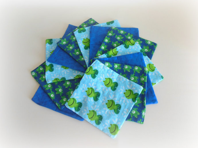2 Ply Cloth Wipes, Washcloths, Burp Cloths, Handkerchiefs in Frog Prints Set of