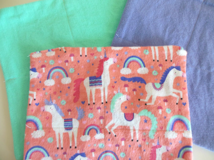 2 Ply Unicorn Flannel Cloth Wipes, Unicorn Washcloths, Unicorn Burp Cloths,