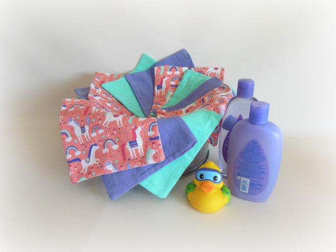2 Ply Cloth Wipes, Washcloths, Burp Cloths, Handkerchiefs in Unicorn Print Set