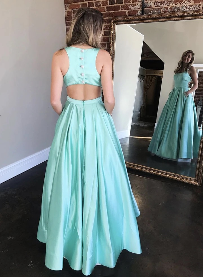 Elegant O-Neck A-Line Prom Dresses,Long Prom Dresses,Cheap Prom Dresses, Evening