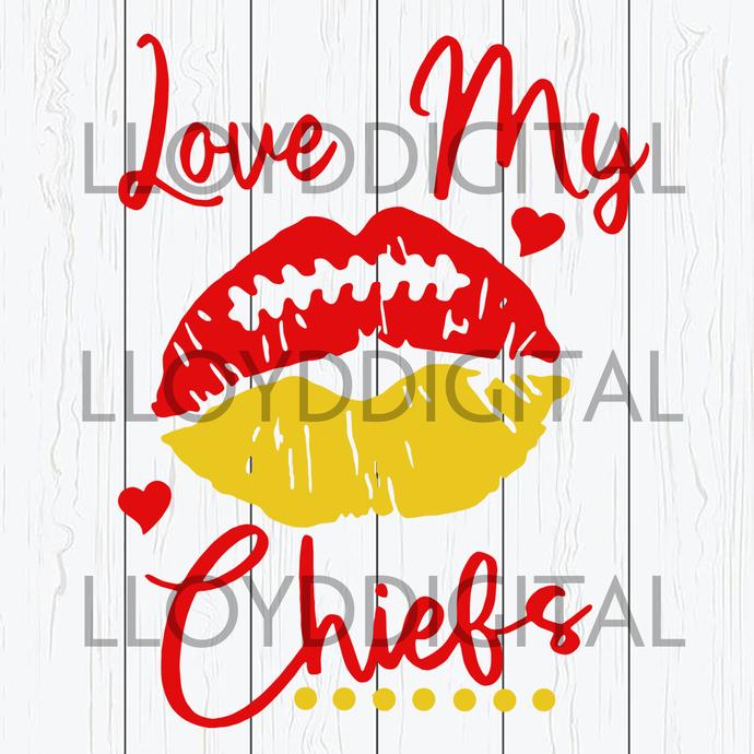 Love my Chiefs Lips svg Football lipstick svg cheerleader svg mom clipart