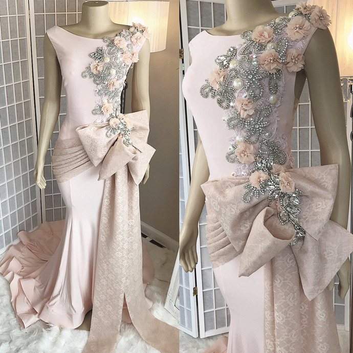 luxury pink evening dresses long mermaid lace appliqué beaded 3d flowers elegant