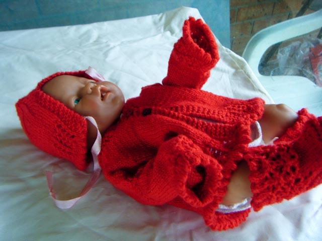 Handmade Knit Red Sweater Set With Lolyttedesigns101