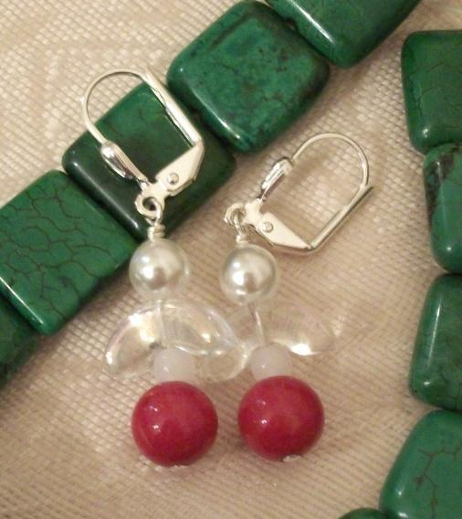 Handmade Silver and Mountain Jade Red Angel Leverback Earrings