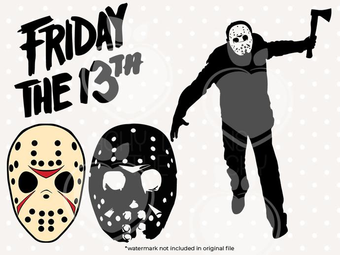 Friday 13 svg files, Friday 13 killer clip art, horro movie killer svg cut files