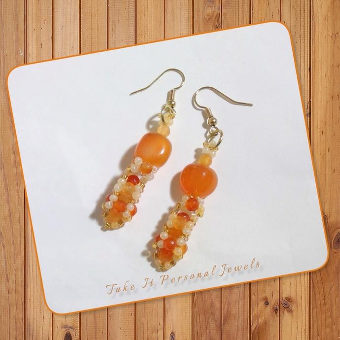Semi-Precious Agate Gemstone Beaded Earrings