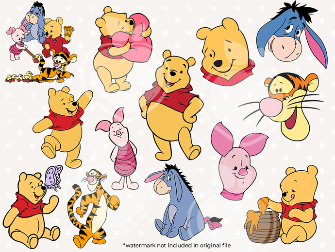 Winnie The Pooh svg files, Winnie The Pooh svg characters, clip art, cutfiles
