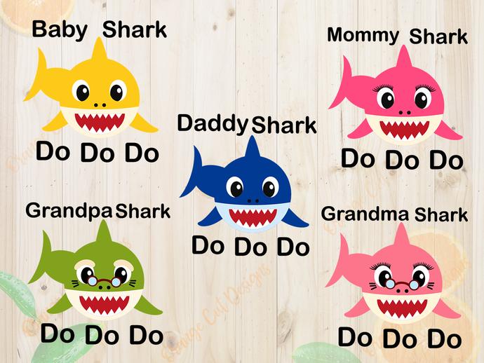 Shark family svg bundle svg files, Shark family clip art, cutfiles eps, dxf &