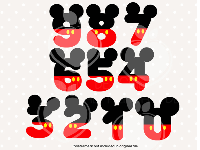 Mickey Mouse Numbers svg files, Mickey clip art, Mickey Mouse Numbers svg cut