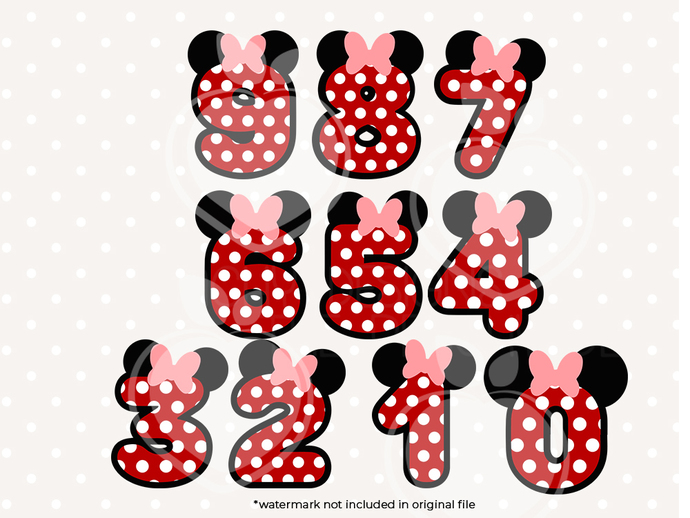 Minnie Mouse Numbers svg files, Minnnie clip art, MinnieMouse Numbers svg cut