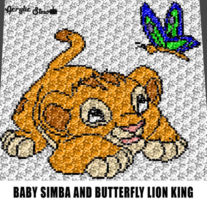 Baby Simba Butterfly Disney Lion King Cartoon Character crochet graphgan blanket