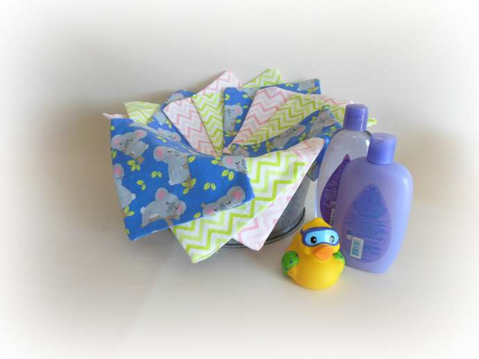 2 Ply Cloth Wipes, Washcloths, Burp Cloths, Handkerchiefs in Koalas and Chevrons