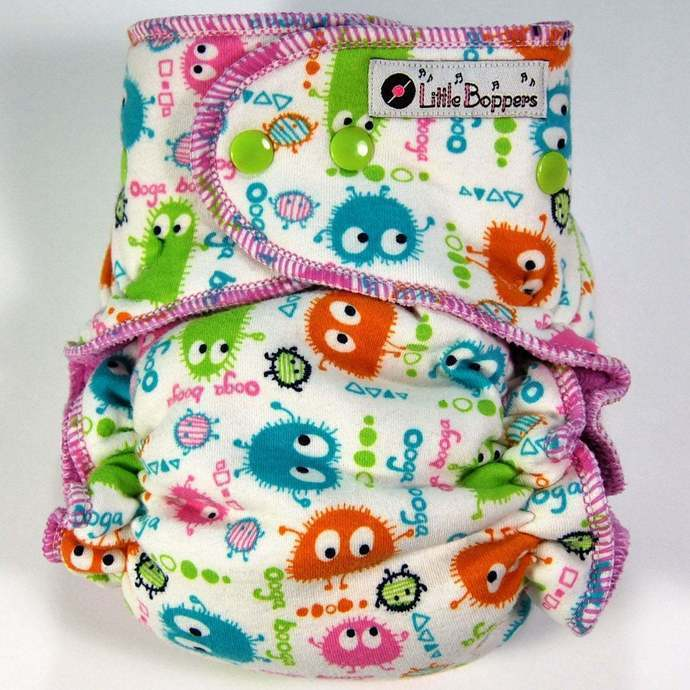 Ready to Ship One Size Cloth Diaper -  Candy Ooga Booga - Hybrid Fitted -