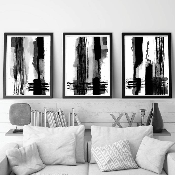 graphic design art,Black & White Abstract Set of 3 Prints, Digital Download,