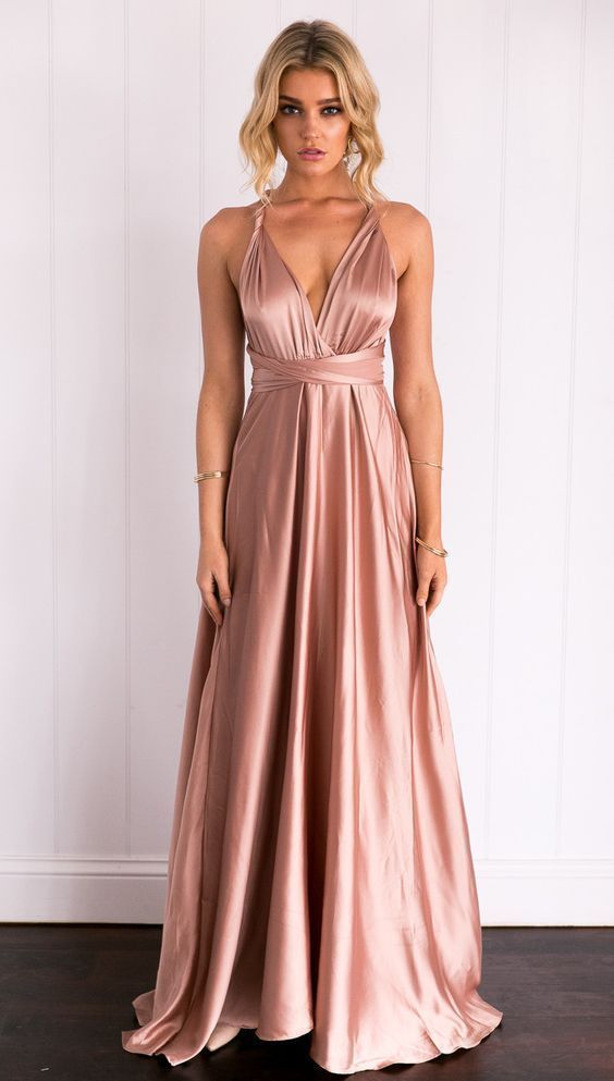 Rose Gold Prom Dress,Satin Prom Gown,A-Line Evening Dress,Backless Bridesmaid