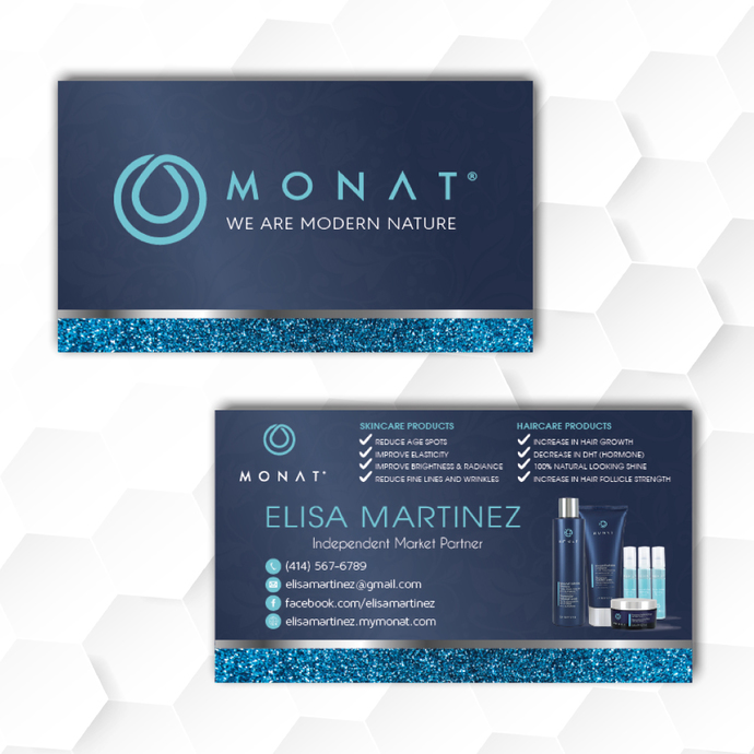 Personalized Monat Business Cards, Glitter Monat Business Cards, Monat Hair Care