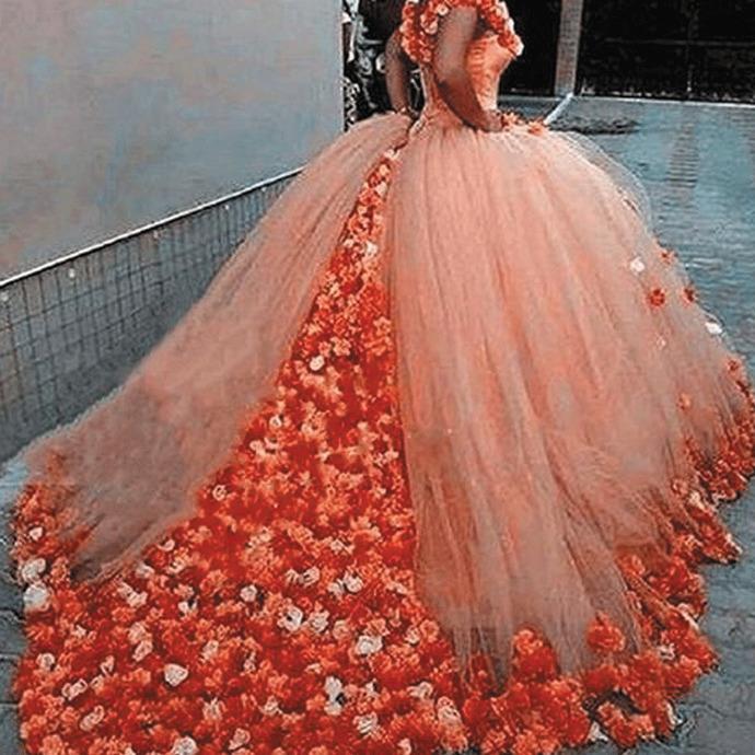 ball gown wedding dresses handmade flowers elegant boho cheap orange bridal