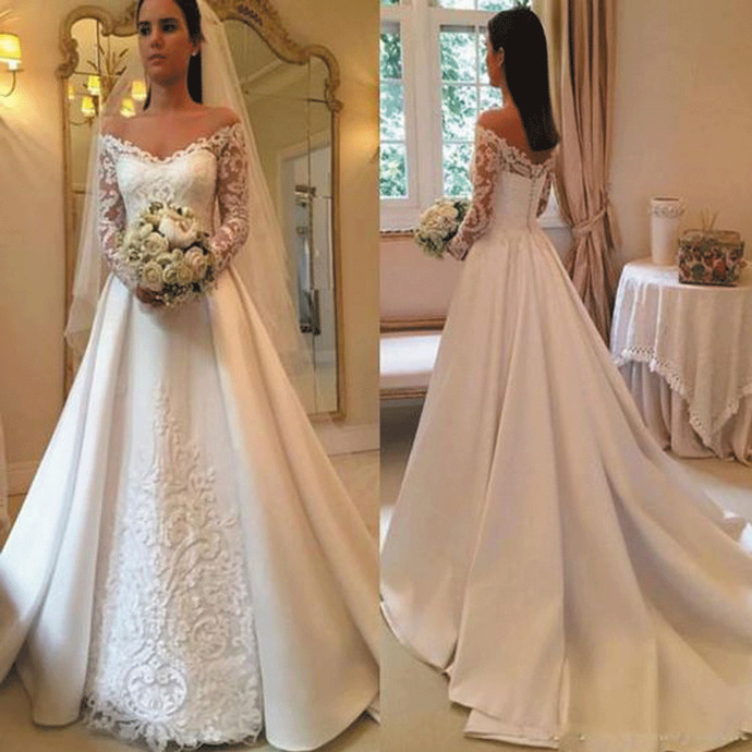 vintage wedding dresses for bride lace appliqué long sleeve elegant boho wedding