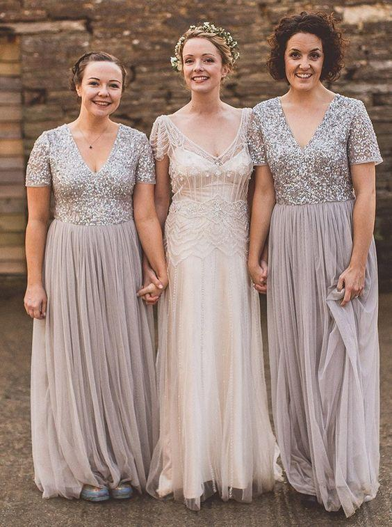 country style wedding party dresses silver beaded a line bridesmaid dresses long