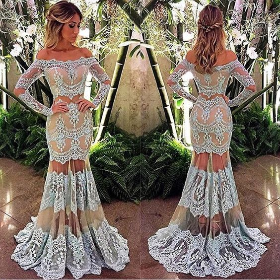 light blue lace evening dresses long mermaid off the shoulder long sleeve
