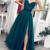 green beaded prom dresses long spaghetti straps lace applique elegant simple