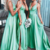 mint green bridesmaid dresses long v neck sleeveless elegant cheap wedding party