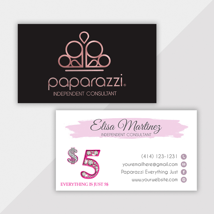 Paparazzi Business Cards, Personalized Paparazzi Business Cards, Glitter