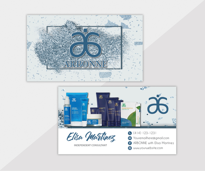 Personalized Arbonne Business Cards, Glitter Arbonne Business Card, Custom