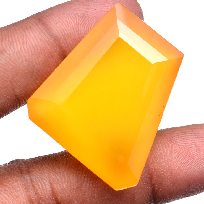 Faceted Yellow Chalcedony 35x30 mm Semi Precious Loose Gemstone ,Dyed Chalcedony