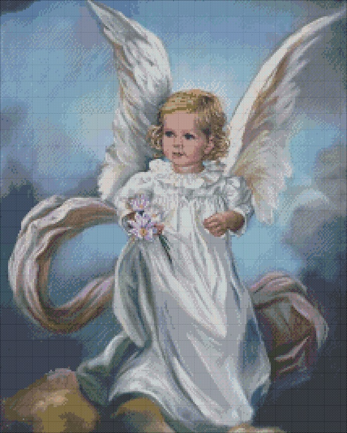 Angel cross stitch, baby angel embroidery, baptism embroidery, embroidery