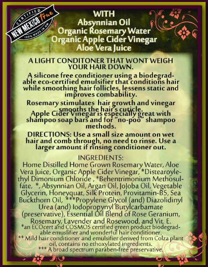 Apple Cider Vinegar & Rosemary Hair Conditioner | Leave In or Wash Out | Aloe