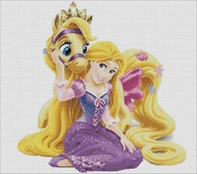 Scheme for cross stitch, Rapunzel and pony cross stitch, disney embroidery,