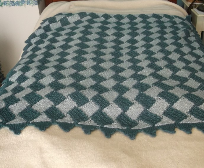 Baby knit blanket entrelac pattern in teal and light blue