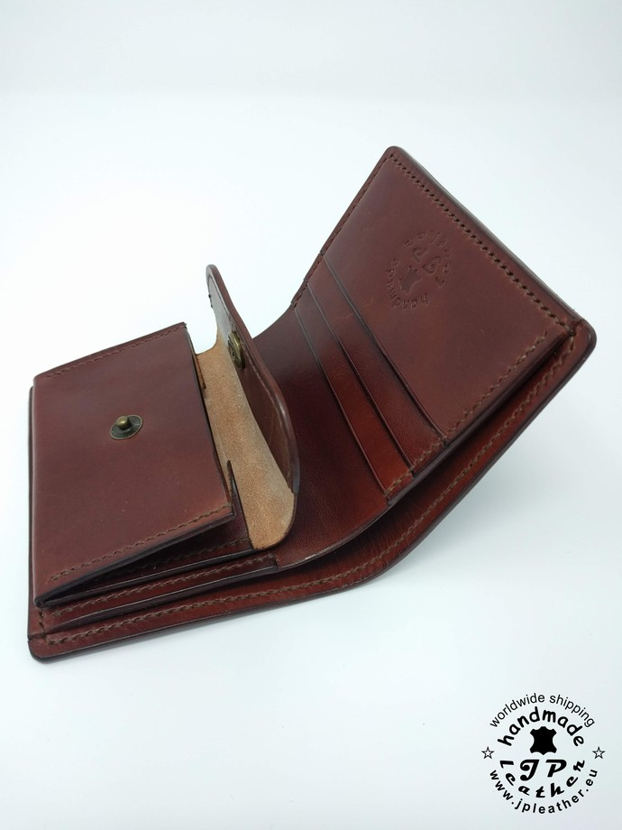 Handmade leather wallet - fullgrain veg-tan cowhide - brown