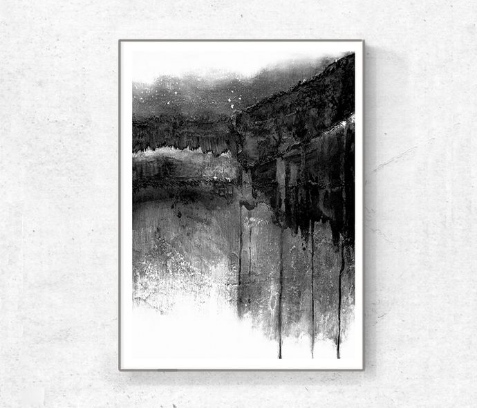 Black & White Contemporary Art, Set of 3 Prints, Abstract Painting, Urban Wall