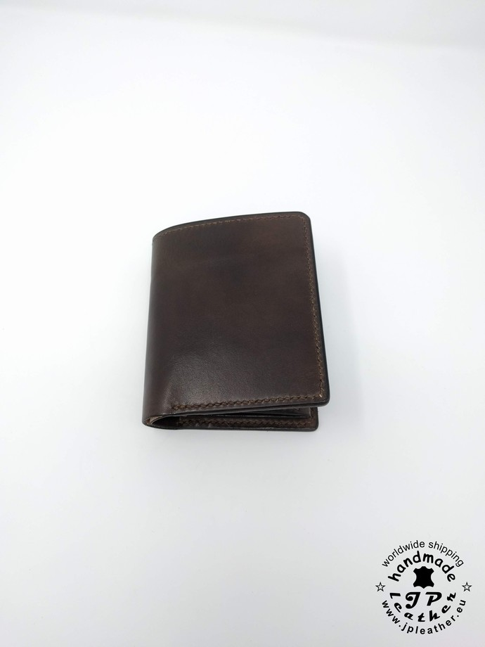 Handmade leather wallet - fullgrain veg-tan cowhide - dark brown