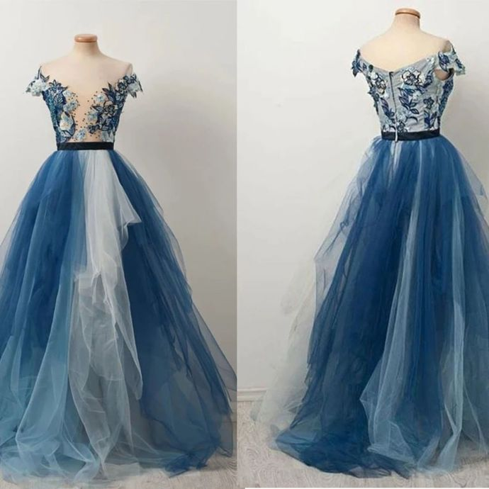 Blue Prom Dress,Tulle Prom Gown,Appliques Evening Dress,Off the Shoulder Prom