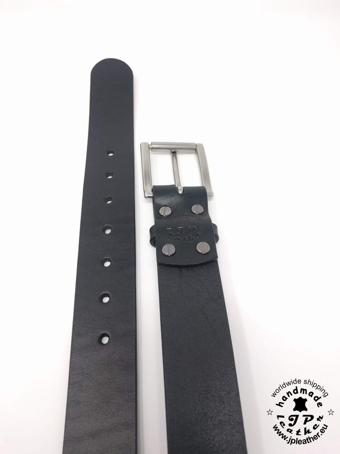 "Handmade black fullgrain vegetable tanned cowhide leather belt 38mm (1.5"")  -"