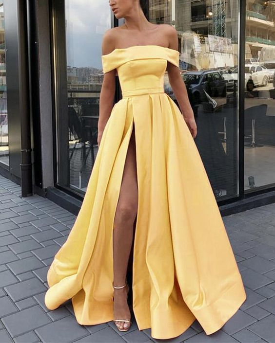 boat neck yellow prom dresses long satin elegant simple prom gown with side slit