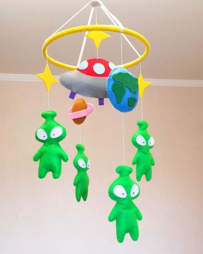 Space aliens baby mobile nursery decor