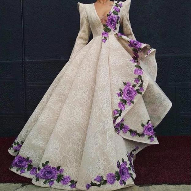 ball gown prom dresses long sleeve lace applique embrodiery applique elegant