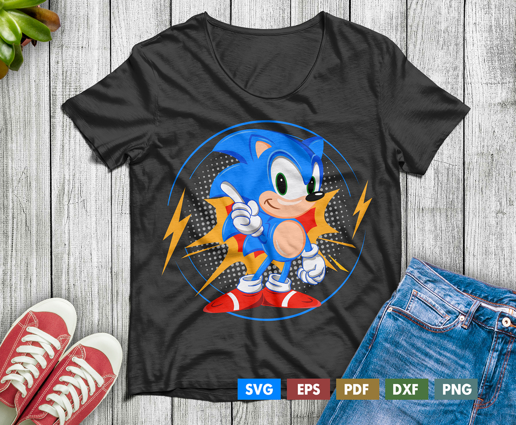 Sonic The Hedgehog T Shirt Design Svg Cut And Print Files For Svg Eps Pdf Dxf Png A C Moore Marketplace