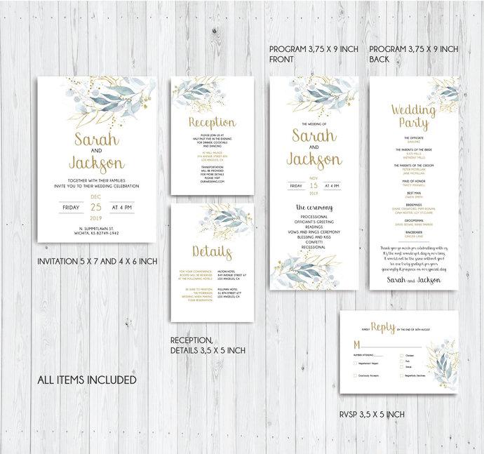 Wedding Invitation, Greenery Wedding invitation kit, Details Card, RVSP 01